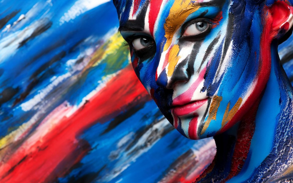 girl face look paint body art 12x18 20x30 24x36 32x48 Inch poster Print 1(China (Mainland))
