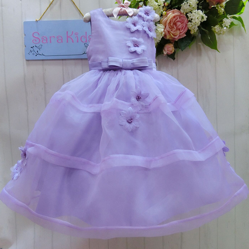 Wholesale high-quality girls dress baby girls party flower dress  SIZE:6-9-12-18-24-36 2015888-3