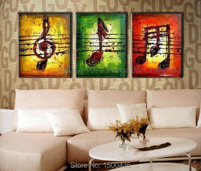 store product Hand Painted Classic Note Oil Music Painting Modern Abstract  Panel Art Home Decorative Canvas Wall