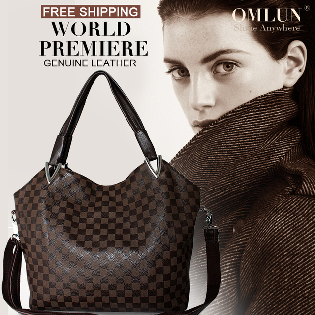 OMLUN 2013 fashion Plaid designer genuine leather handbags free shipping big single shoulder and messenger women's bag AD0023