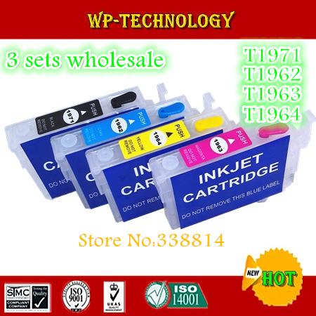[3 sets Wholesale] Empty Refill cartridge suit for T1971 - T1964  ,suit for Epson XP-201 XP-204 XP-214 XP-401 , With  ARC chip