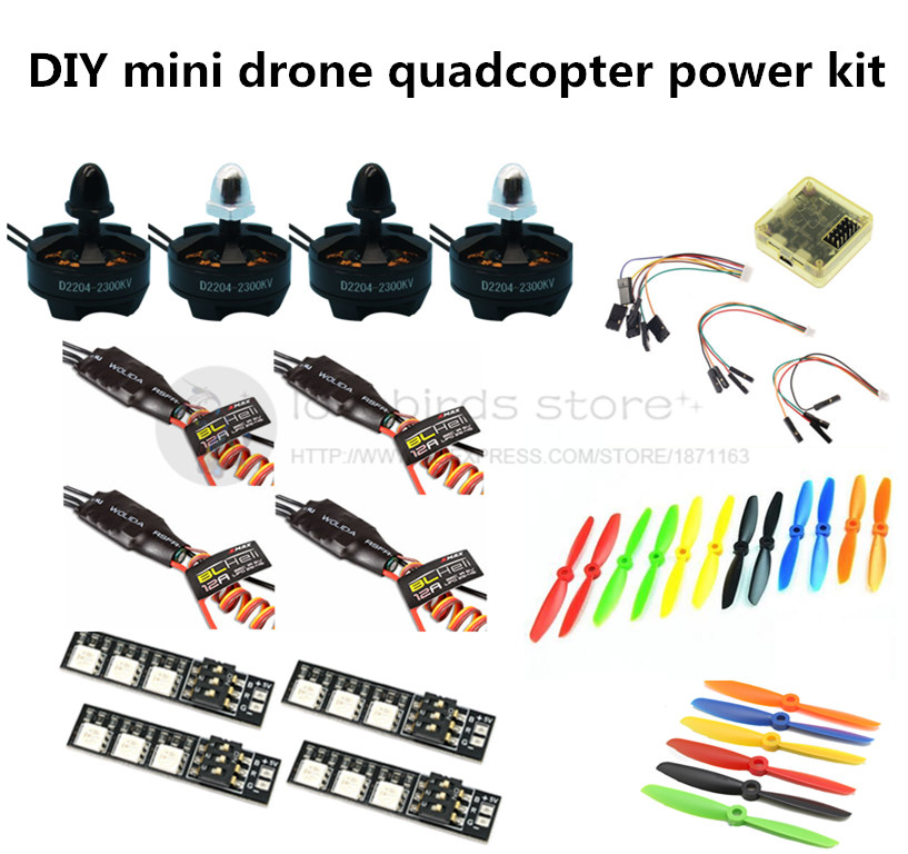 DIY mini drone power kit CC3D + D2204 2300KV moto r+ EMAX BLheli 12A ESC+5045/6045 propellers for QAV250 / ZMR250 / Robocat 270<br><br>Aliexpress