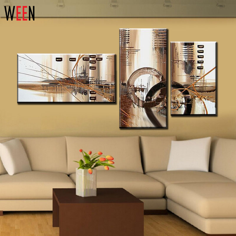 No Framed Hand Painted 3 Panel Canvas Art Brown Wall Home Decor Abstract Oil Painting Picture Home Decoration Large