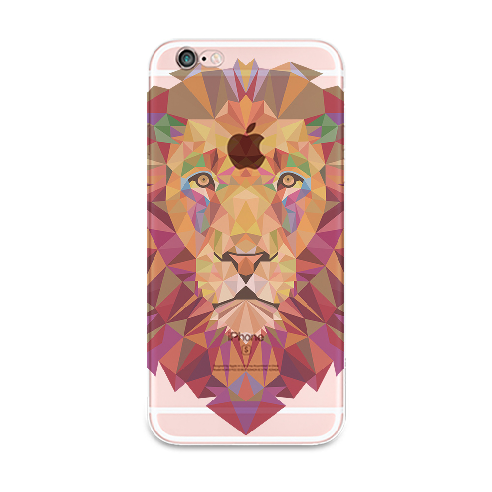 Fashion Case For phone SE 5s Silicone Cartoon 3D Lion King Ultra Thin Clear Cover For 6 6Plus 4 4s Free Shipping(China (Mainland))
