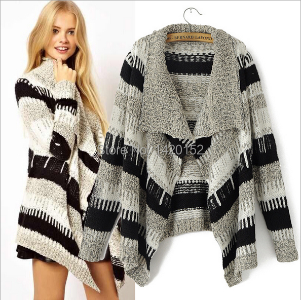 European and American style 2014 autumn winter new coat cardigan Black and white contrast color thick striped turtleneck sweater(China (Mainland))