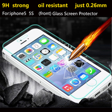 Ultra Thin 0.26mm 2.5D Premium Tempered Glass Screen Protector For iPhone 5 5S 5c HD Toughened Protective Film + Cleaning Kit