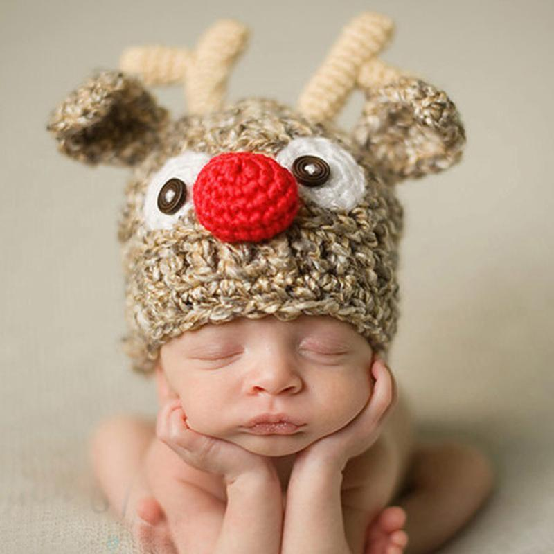 Cute Deer Christmas Design Hat Baby Handmade Beanies Costume Knitted newborn Crochet photography props Newborn Hat 0-12months<br><br>Aliexpress
