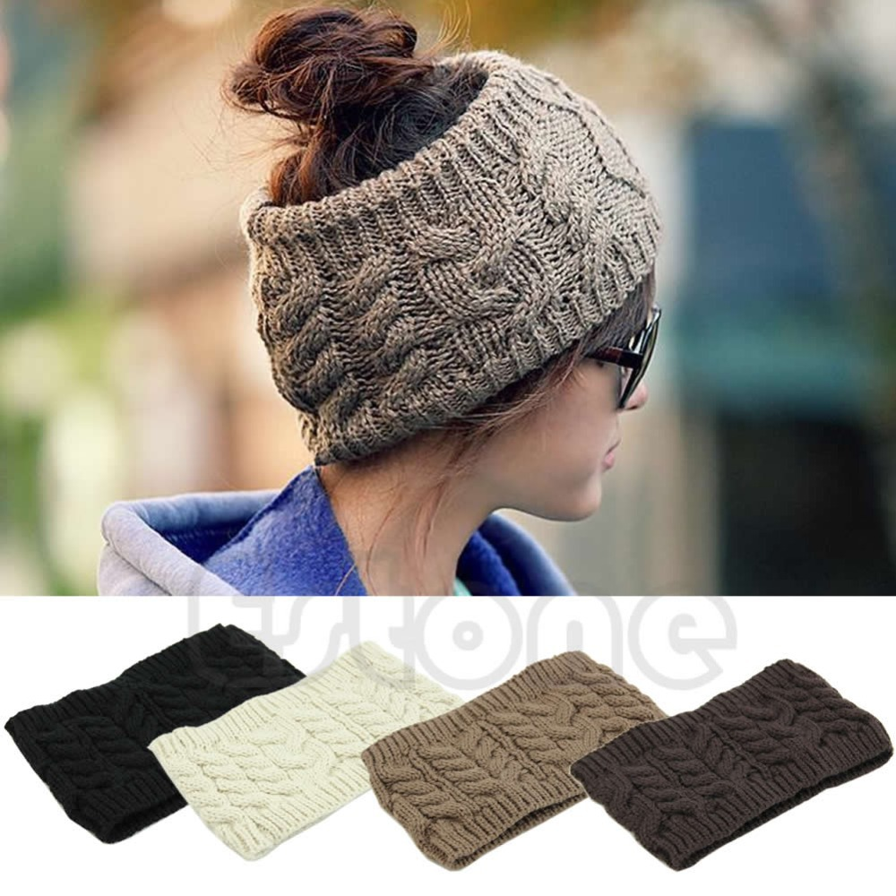 Chic Women Knitted Empty Skull Beanie HeadBand Warm Hat Lady Girl Winter Ski Cap(China (Mainland))