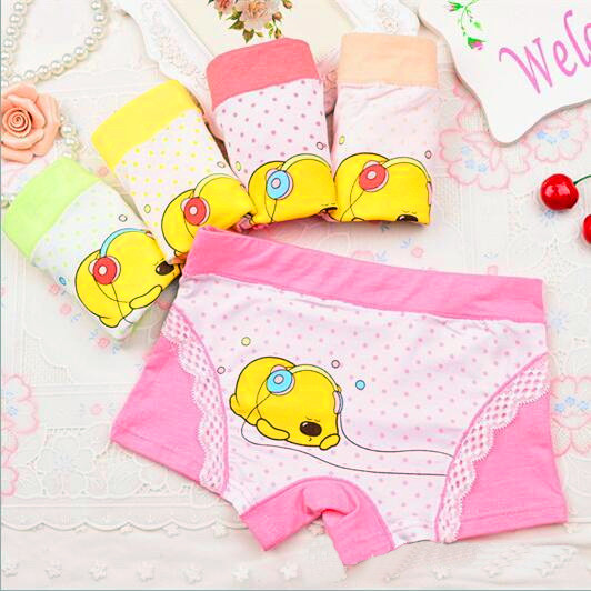 5 colors Cartoon headphones bear lace girl Underwears,Children's Clothing girls panties baby girl Boxers briefs size: 3-11year(China (Mainland))