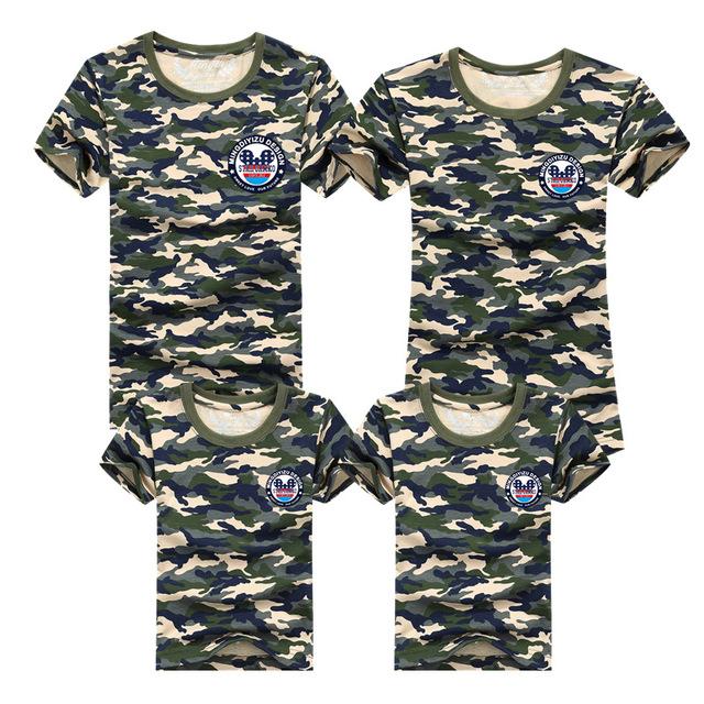 1psc семейные футболки 2016 лето семья соответствующие одежды армия цвет семья взгляд ...