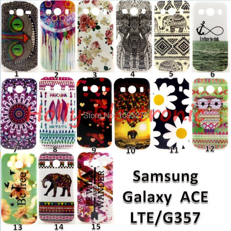 2015 Fashion Printing Rose Elephant Carousel Tpu Soft Case Cover For Samsung Galaxy Ace 4 G357 case(China (Mainland))