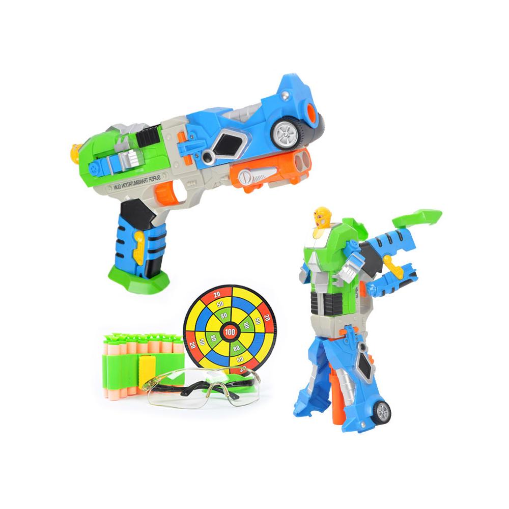 4inLoveMe Transformation Robot Cap Guns Blaster+Safety Goggles+Mini Bandolier+Target Nerf Toy for Toddler Kids(China (Mainland))