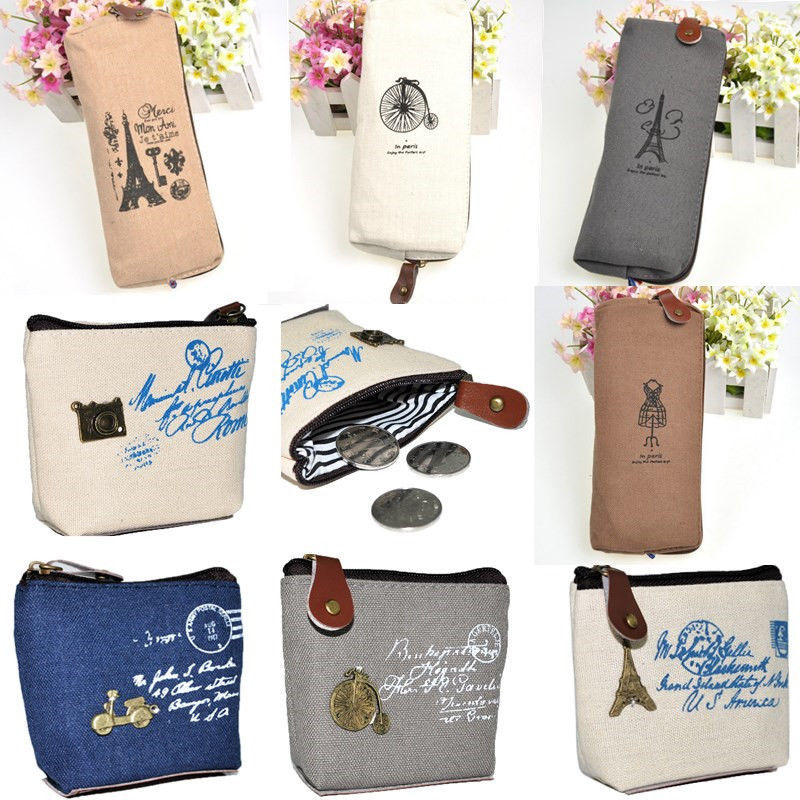 New Fashion women canvas coin purse cute Vintage Wallets Storage bags monederos Card bags bolsas carteira 1 pcs(China (Mainland))