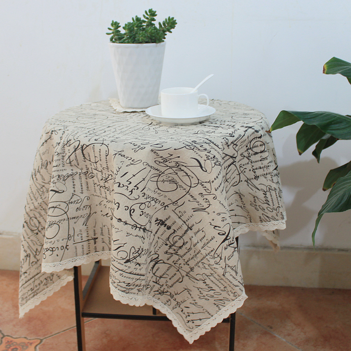"221# square 140cm/55"" hot sale table cloth tablecloth mat cover cotton&linen lace letter freeshipping wholesale(China (Mainland))"