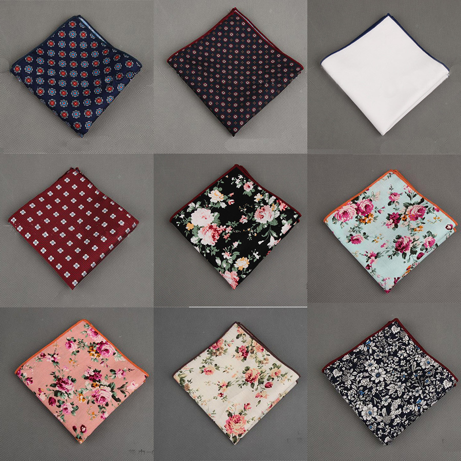 Vintage Styles 100% Cotton Handkerchief Floral Printed Pocket Square Wedding Party 23cm*23cm Hankies For Men Brand Pocket Towel(China (Mainland))