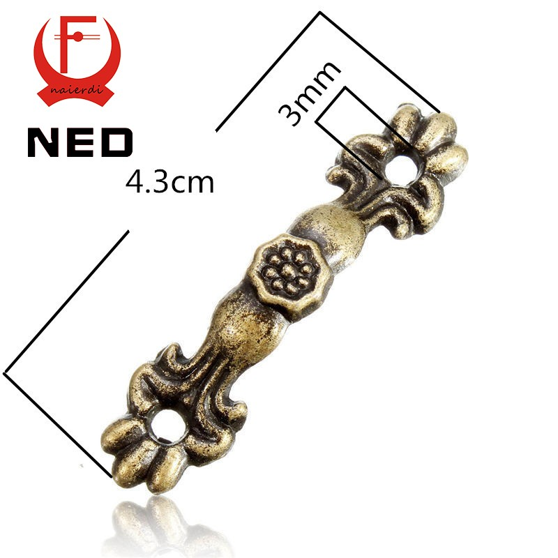 10pcs 43*10MM Box Handle Zinc Alloy Knobs Arch Tracery Bronze Tone For Drawer Wooden Jewelry Box Furniture Hardware