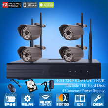 4CH NVR CCTV System 1TB HDD 720P IP Camera WIFI Outdoor IR Night Vison H.264 Home Security Wireless Surveillance Camera