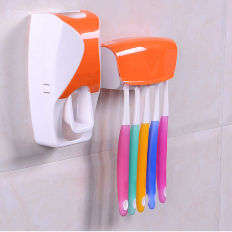 Plastic Wall Mount Toothpaste Dispenser Toothbrush Holder Bathroom Shelves Stand Automatic Squeeze Toothpaste Toothbrush Rack(China (Mainland))