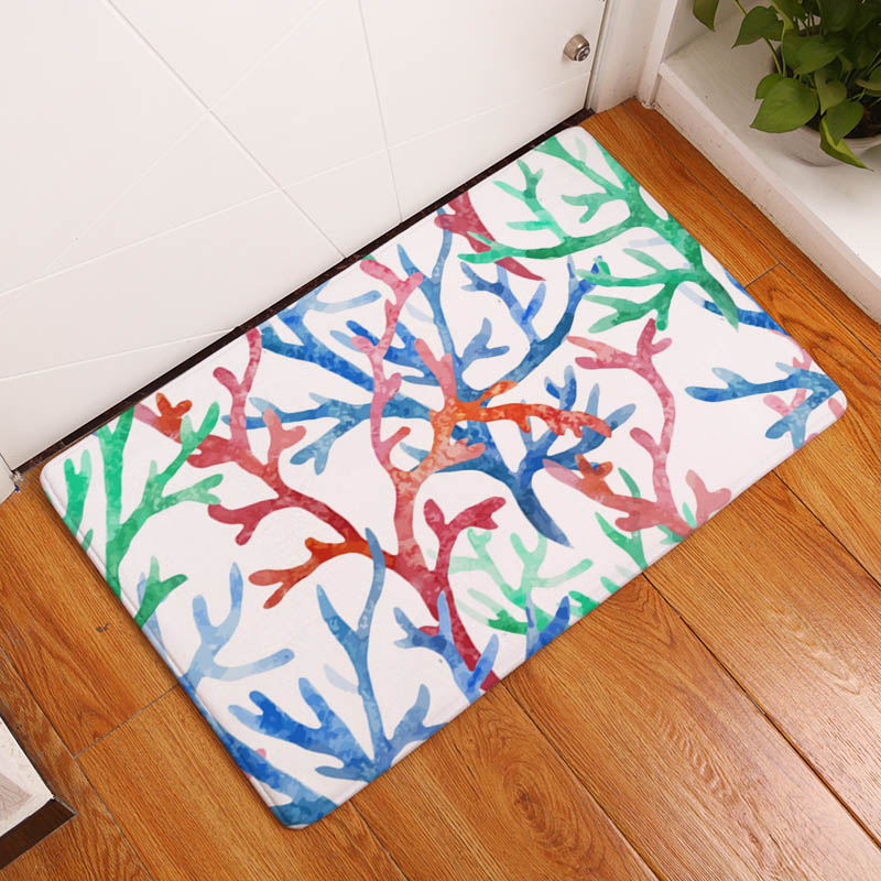 Coral Printing Flannel Carpet Hippocampus Pattern Mat For Living Room  40x60cm Door mat Rectangle Tapete b8889c8a7b