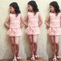 2016 Fashion Children Clothing Girls Outfits Rose Flower Design Costume for girl Vest Shorts 2pcs Baby