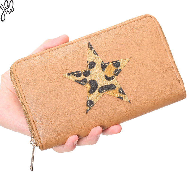 GAINA 2015 Quality Leather Star Zipper Wallet for Women Leather Money Dollar Bag Purses Brand Women Money Wallet For Sale 500520(China (Mainland))