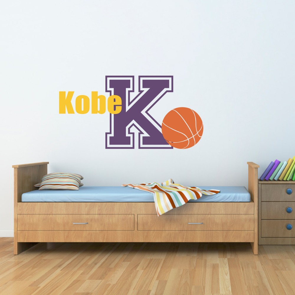 Custom made Basketball Vinyl Decal Sports Wall Decals Boy Child Bedroom Wall Art for Kids Rooms-You Choose Name and Color(China (Mainland))
