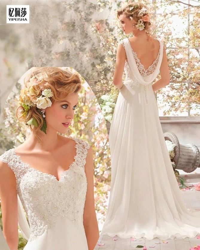 2016 High Quality V Neck White Or Ivory Wedding Dresses