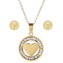 LUBINGSHINE יוקרה זהב צבע נשים אהבת לב ינשוף עץ של חיים שרשרת עגילי נירוסטה כלה חתונה תכשיטי סטים(China)