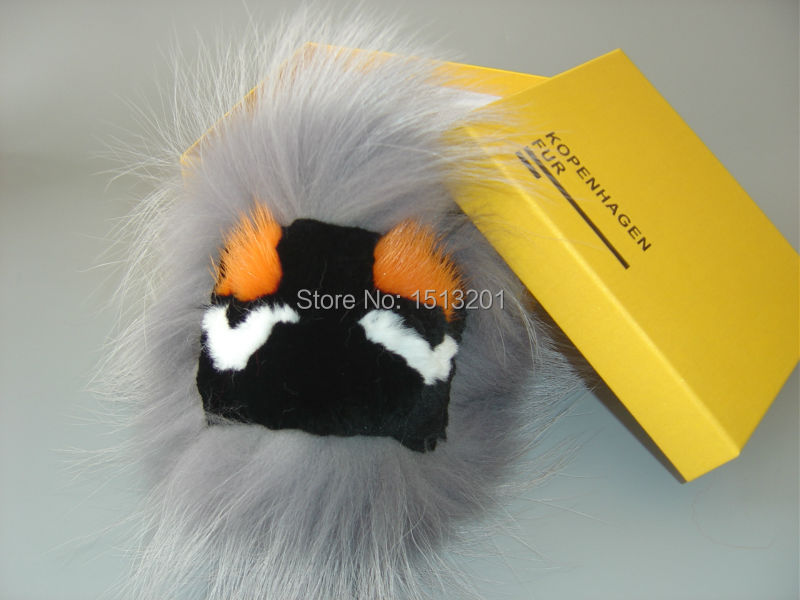 Real Fur Monster Keychain with Yellow Gift Box Pom Pom Fur Balls Doll Ball Key ring Keychains Bag car Charm Fur Toy Accessories(China (Mainland))