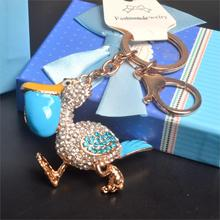 X'Mas Gift! Fashion bling duck of Keychains & Rhinestone Keyring charm women laddy's handbag & phone keyholder in gift Box(China (Mainland))