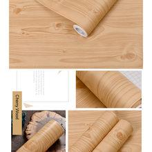 ПВХ водонепроницаемый самоклеющиеся обои рулон мебель шкафы виниловая декоративная пленка дерево зерна наклейки для Diy домашний декор(China)