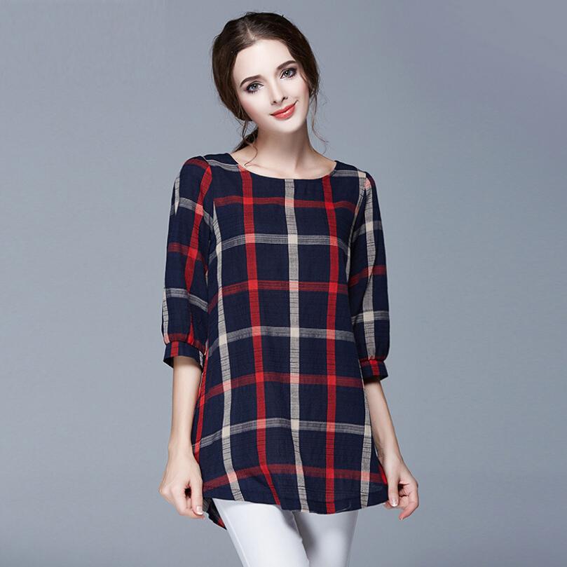 Vintage plaid women t shirt new 2015 autumn ladies tops o for 3 4 sleeve t shirts plus size
