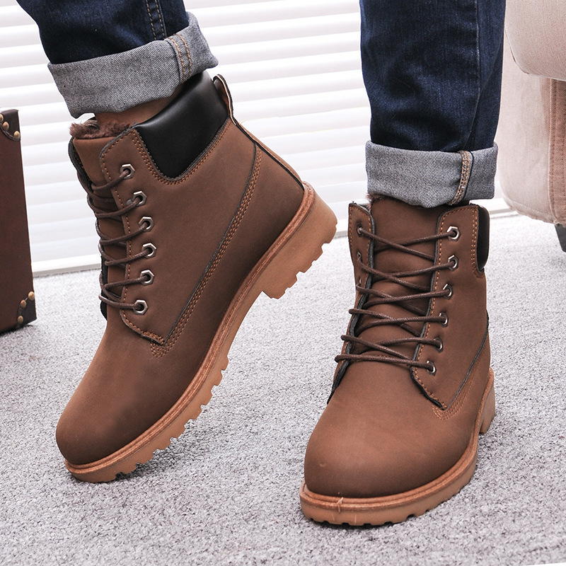 Leather man boots fashion Winter men boots ankle snow ...