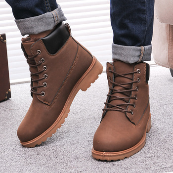 Leather man boots fashion Winter men boots ankle snow shoes warm snow martin shoe lace-up
