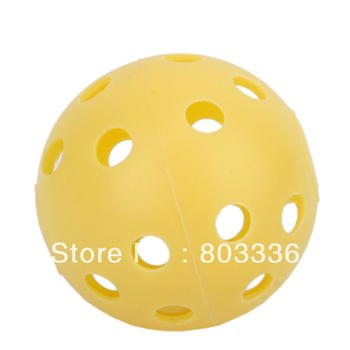 Free Shipping 20Pcs Yellow Plastic Perforated Practice Tennis Golf Balls