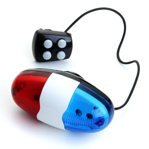 6 LED 4 Tone Sounds Bike Bicycle Horn Bell Police Car Light Trumpet, IN STOCK, FREE SHIPPING(China (Mainland))