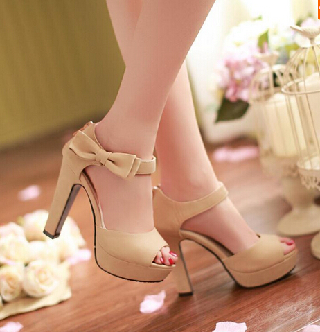 summer Peep toe Ankle strap orange Sweet Thick high heel Sandals Platform Lady women shoes - Top-The quality of store