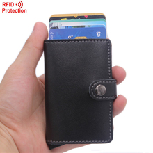 Antitheft Men Wallets PU Leather Slim Mini RFID Wallet Automatic Business Card Holder Aluminum Credit Card Case Protector(China (Mainland))