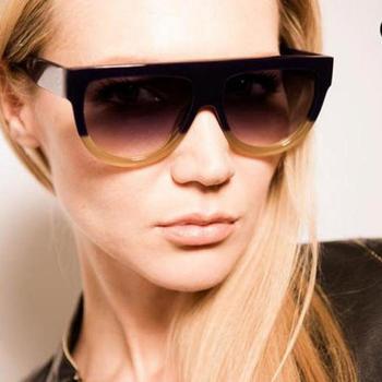 2016 High Quality Women Brand designer Sunglasses Woman Flat Top Mirror Sun Glasses Cat Eye glasses  Fashion oculos De Sol