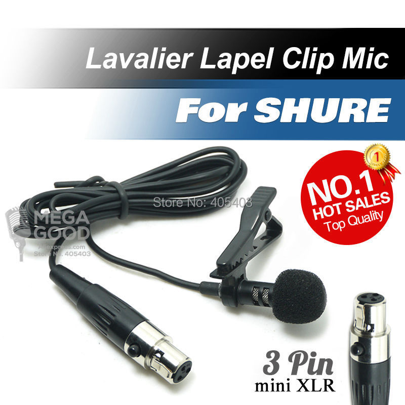 Professional Lavalier Lapel Tie Clip Cardioid Condenser Microphone For Shure Wireless Body-Pack Transmitter mini 3 Pin XLR TA3F(China (Mainland))