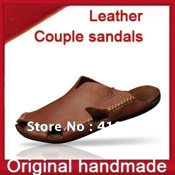 Original men's and women's genuine leather slippers shoes casual sandal ,rubber-soled, men summer ,beach slippers,free shipping
