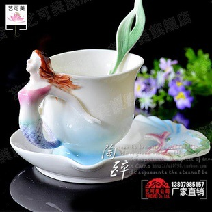 RF06 bone china coffee cup and saucer porcelain enamel porcelain flange Franz ceramic gifts mermaid