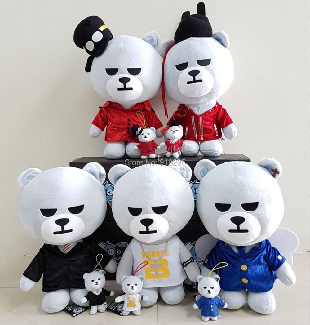 "Free EMS 100/Lot 24cm/9"" KPOP Bigbang GD G-Dragon Taeyang TOP Seungri Daesung Bear Character Plush Doll Stuffed Toy"