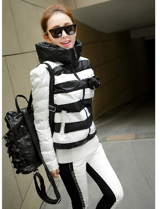 2015 winter womens slim Down coat set three piece suit with a hood female plus size stripe down jacket +down tops+ long trousers(China (Mainland))