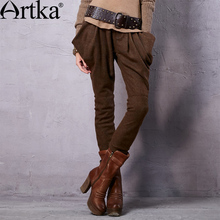 Artka Women's 2015 Autumn New Vintage Cotton Solid Color Wool Pants Casual Full Length Harem Pants KA15156Q