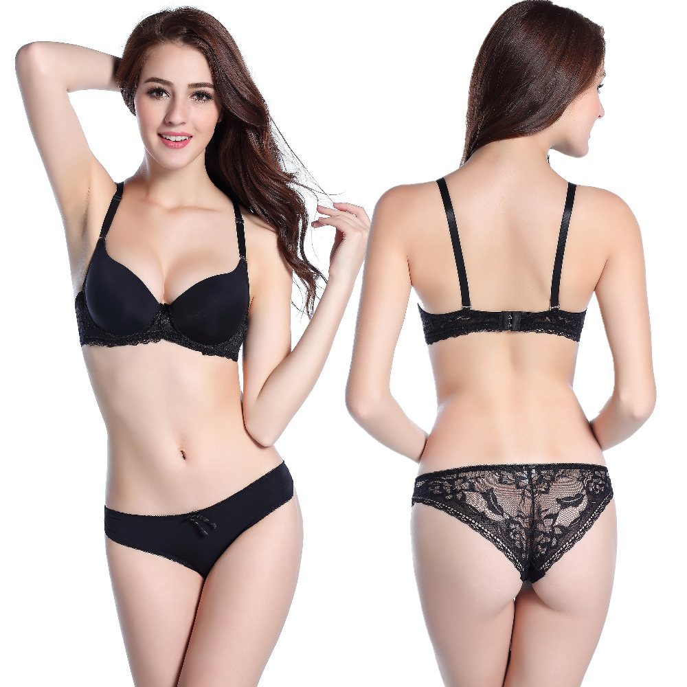 2015 New sexy bra brief panty set gathering cups push up A cups font b lace