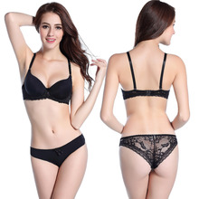 2015 New sexy bra brief + panty set gathering cups push up A cups lace embroidery brand lingerie style women underwear H061