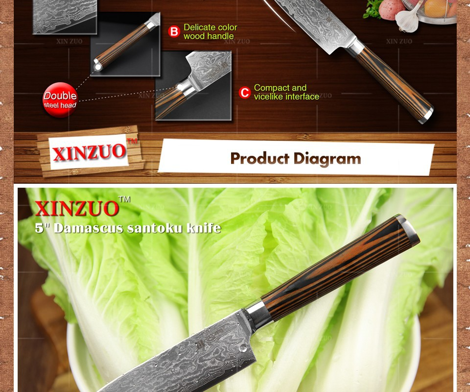 "Buy XINZUO 5""Japanese chef knife 73 layers VG10 Damascus steel kitchen knife high quality santoku knife wooden handle FREE SHIPPING cheap"
