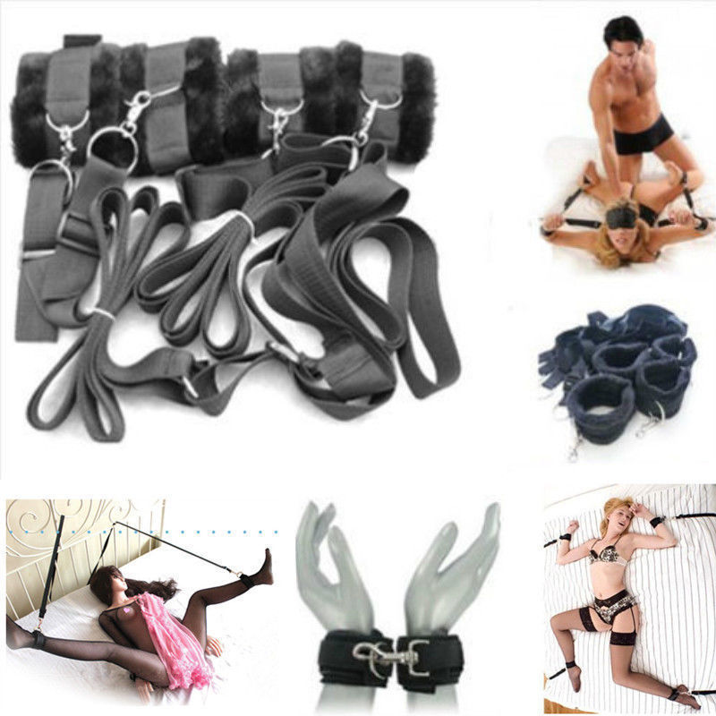 Adult Sex Sexy Fun Game Tied Tease Under Bed Bondage Restraint Straps Belts Hand Cuffs Ankle Cuffs Nylon Velvet Set For Couples(China (Mainland))