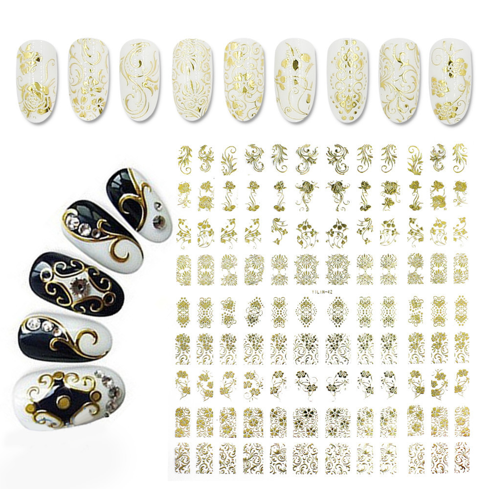 Yaoshun 3D Gold Nail Art Stickers Decals 108pcs/sheet Top Quality Metallic Flowers Mixed Designs Nail Tips Accessory Tool(China (Mainland))